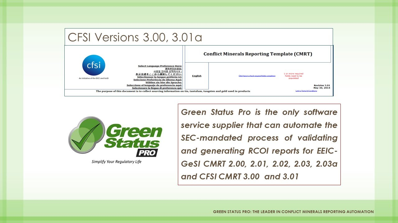Green Status Pro Introduces Support For Cfsi Cmrt Version 3 Youtube