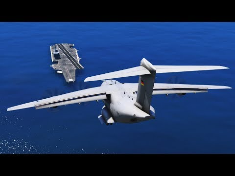 GTA 5 - LANDING GIGANTIC AIRBUS A400M ATLAS ON THE AIRCRAFT CARRIER (GTA 5 Funny Moment)