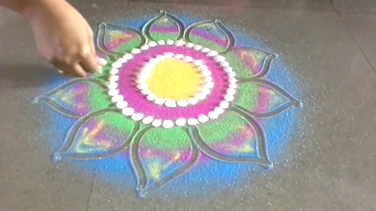 Very Beautiful Freehand Flower Rangoli Design Youtube