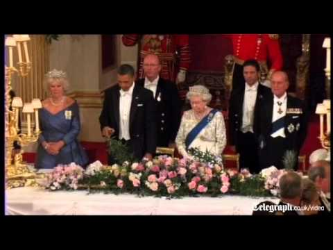 US President Barack Obama suffers embarrassing royal toast mishap at Queen's banquet