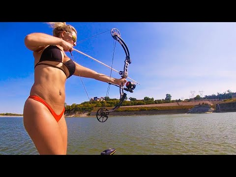 RIVER BOWFISHING A GIANT SPILLWAY (Catch Clean Cook!!)