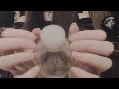 [ASMR] Binaural Plastic Bottle/Lid Tapping + Scratching + Water Sounds