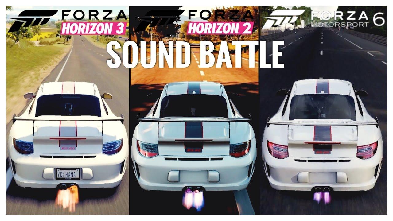 forza horizon 3 porsche gt3 rs 4 0 vs forza horizon 2 vs forza 6 sound comparison youtube. Black Bedroom Furniture Sets. Home Design Ideas