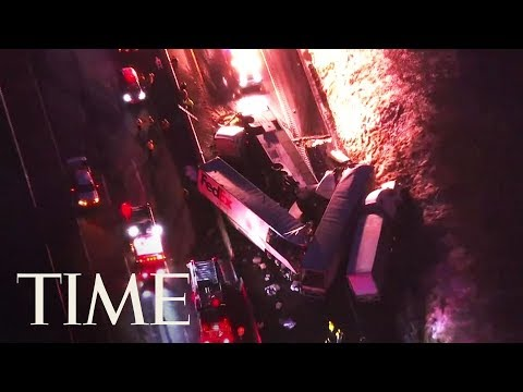 A crash involving two tractor trailers, a tour bus and a passenger vehicle killed five people and injured dozens of others on the Pennsylvania Turnpike at around 4 a.m. on Sunday. Video by TIME.