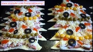 Рецепты и закуски к новому году. Пицца 'Новогодняя ёлочка'.