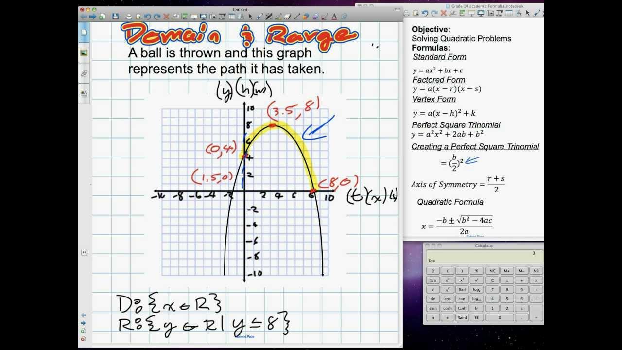 Domain and range of quadratic equations grade 11 mixed lesson 41 domain and range of quadratic equations grade 11 mixed lesson 41 41912v falaconquin