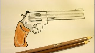 How To Draw A Pistol|Step By Step|Gun|On Paper.