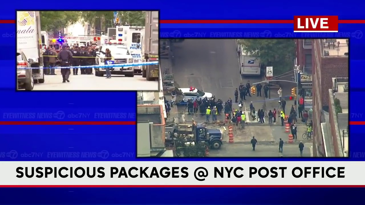 NYPD investigates 2 suspicious packages at post office in Midtown Manhattan
