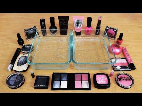 Mixing Makeup Eyeshadow Into Slime ! Black Vs Pink Special Series Part 8 ! Satisfying Slime Video