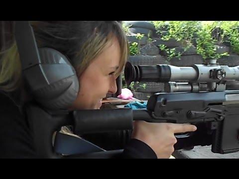 Czech girl shooting Izhmash Dragunov Tigr .308