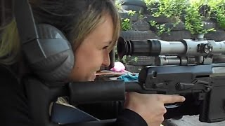 Pretty girl shooting Izhmash Dragunov Tigr .308