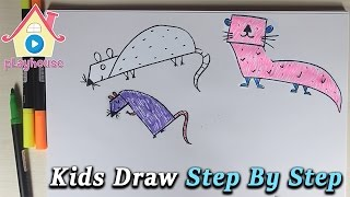 Draw Mouse and Otter Step By Step | Drawing Step Step | Kids Painting And Drawing