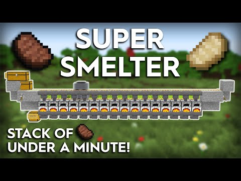 Minecraft Easiest Super Smelter Ever - Fully Automatic - Super Fast 1.16/1.15
