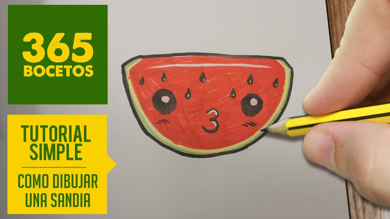 HOW TO DRAW A WATERMELON CUTE, Easy step by step drawing lessons for kids ,  YouTube