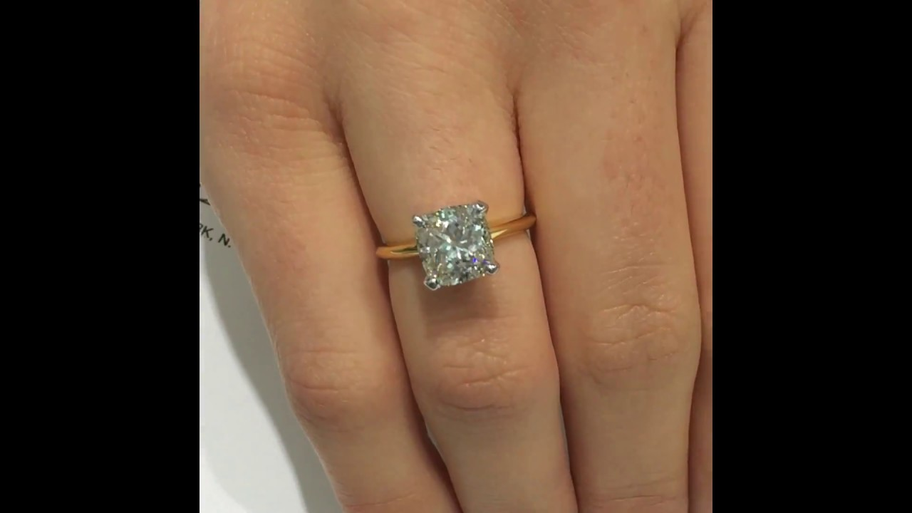 300 Ct Cushion Diamond Engagement Ring In White And Yellow Gold