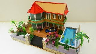 How To Make A Cardboard House With Swimming Pool and Garden