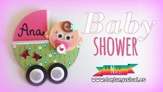 Baby shower bautizo. Ideas para regalo. Carrito de goma eva