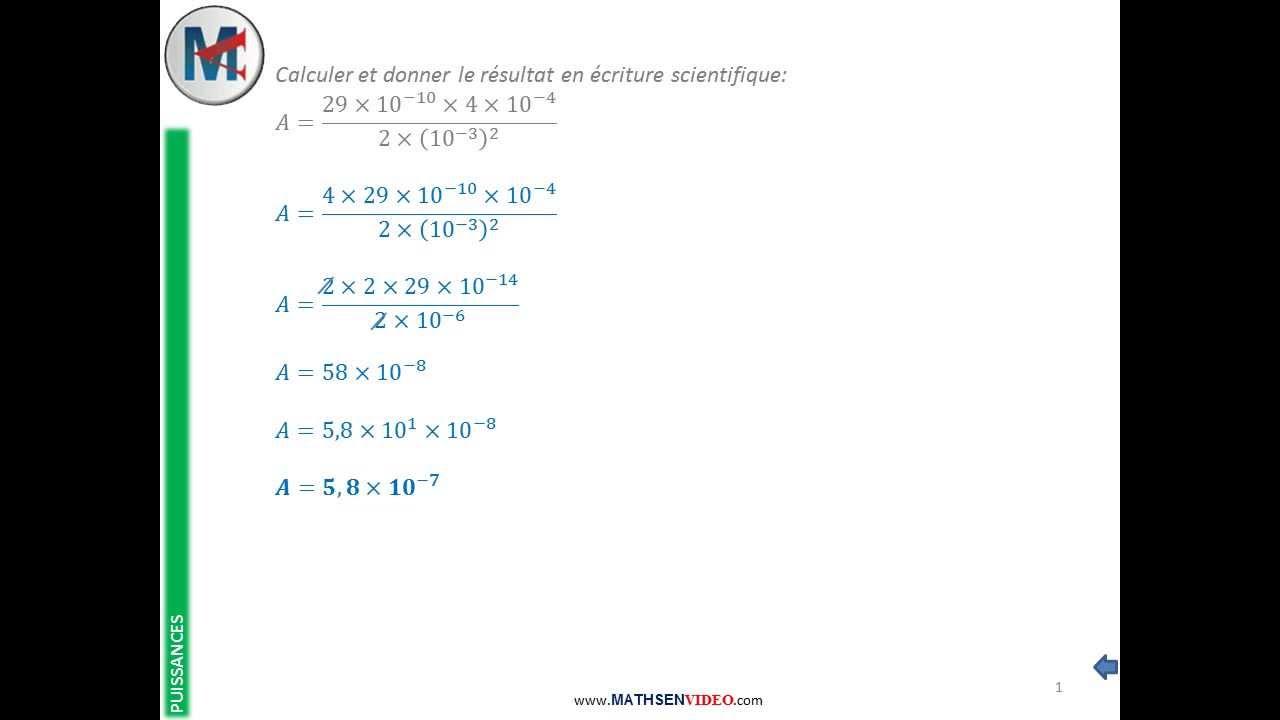 Exercice calcul avec lois de puissance et notation scientifique youtube - Comment calculer puissance radiateur ...
