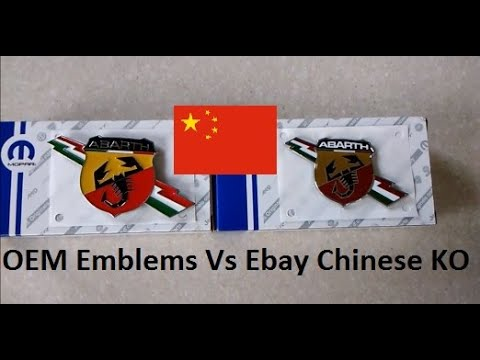 Ebay Chinese bootleg Knock off KO Car Emblem Vs OEM side by side Vehicle Emblems badges comparison