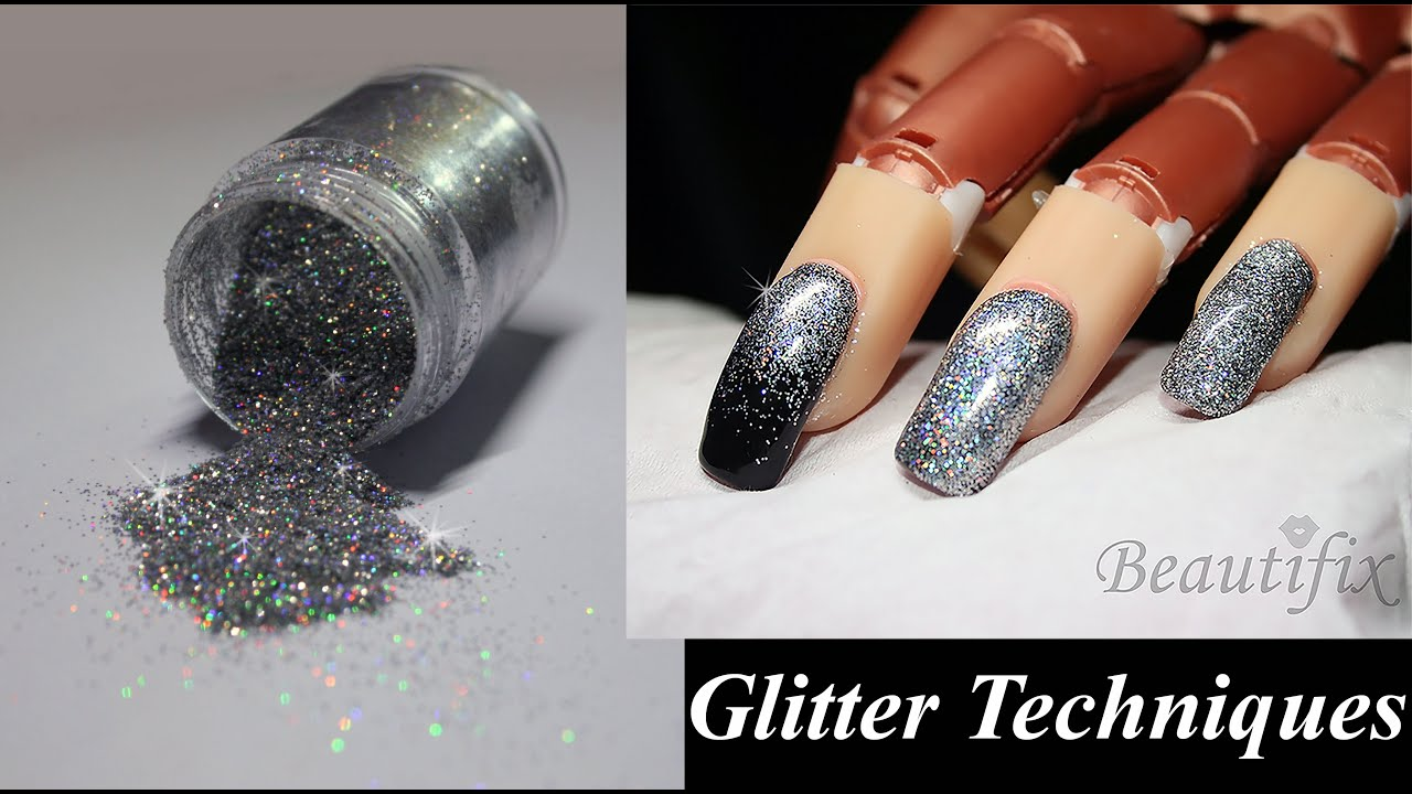 How to: Apply Glitter to nails, 3 Techniques. - YouTube