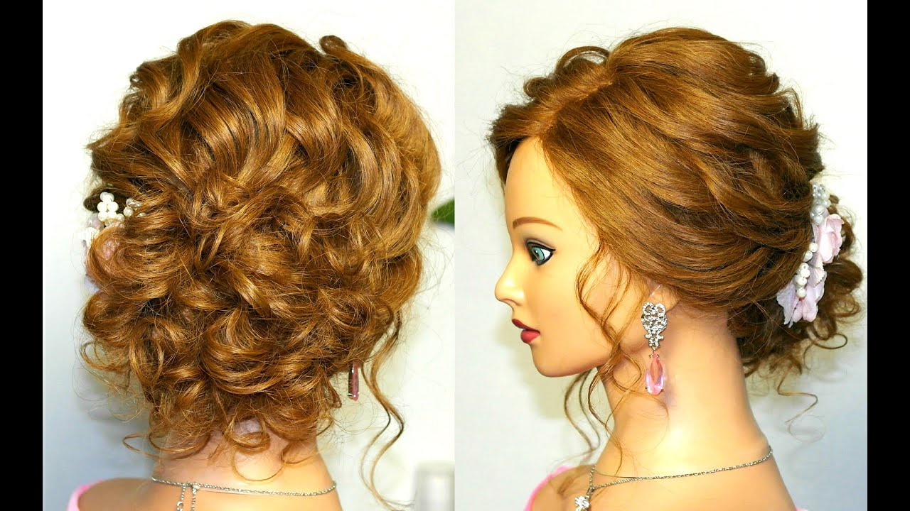 prom wedding hairstyle, curly updo for long medium hair tutorial