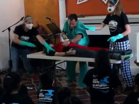 Doing OPERATION skit in Antigua Guatemala - Art Dykstra