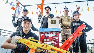 LTT Game Nerf War : Warriors SEAL X Nerf Guns Fight  Braum Crazy Robber Gold Button YT Rescue Lover