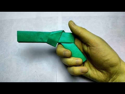Origami pocketgun folding without glue tape or scissors easy and safe for kids