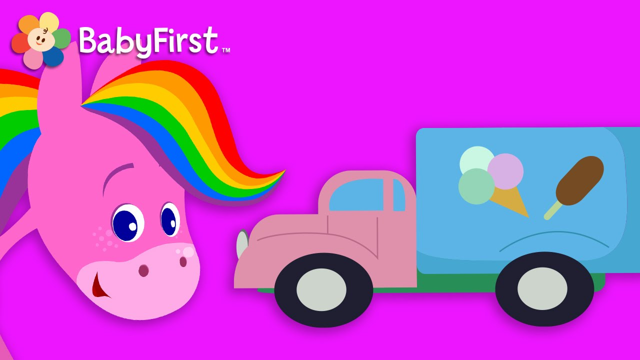Coloring pictures of cars and trucks - Cars And Trucks Coloring And Music Rainbow Horse Babyfirst Tv Youtube