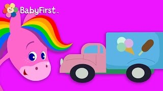 Cars and Trucks | Coloring and Music | Rainbow Horse | BabyFirst TV