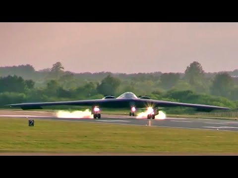 Two B-2 Spirit Stealth Bombers Landing at RAF Fairford