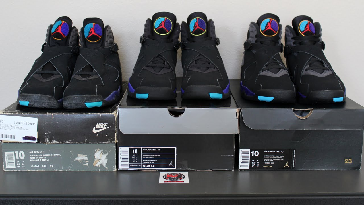 37778c24092b4b Comparison  Air Jordan 8 VIII Aqua (1993 vs 2007 vs 2015) - YouTube