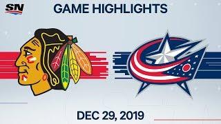 NHL Highlights   Blackhawks vs. Blue Jackets - Dec. 29, 2019