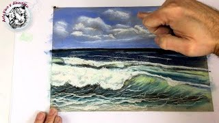 How to draw a Seascape with Soft Pastels (narrated in spanish)
