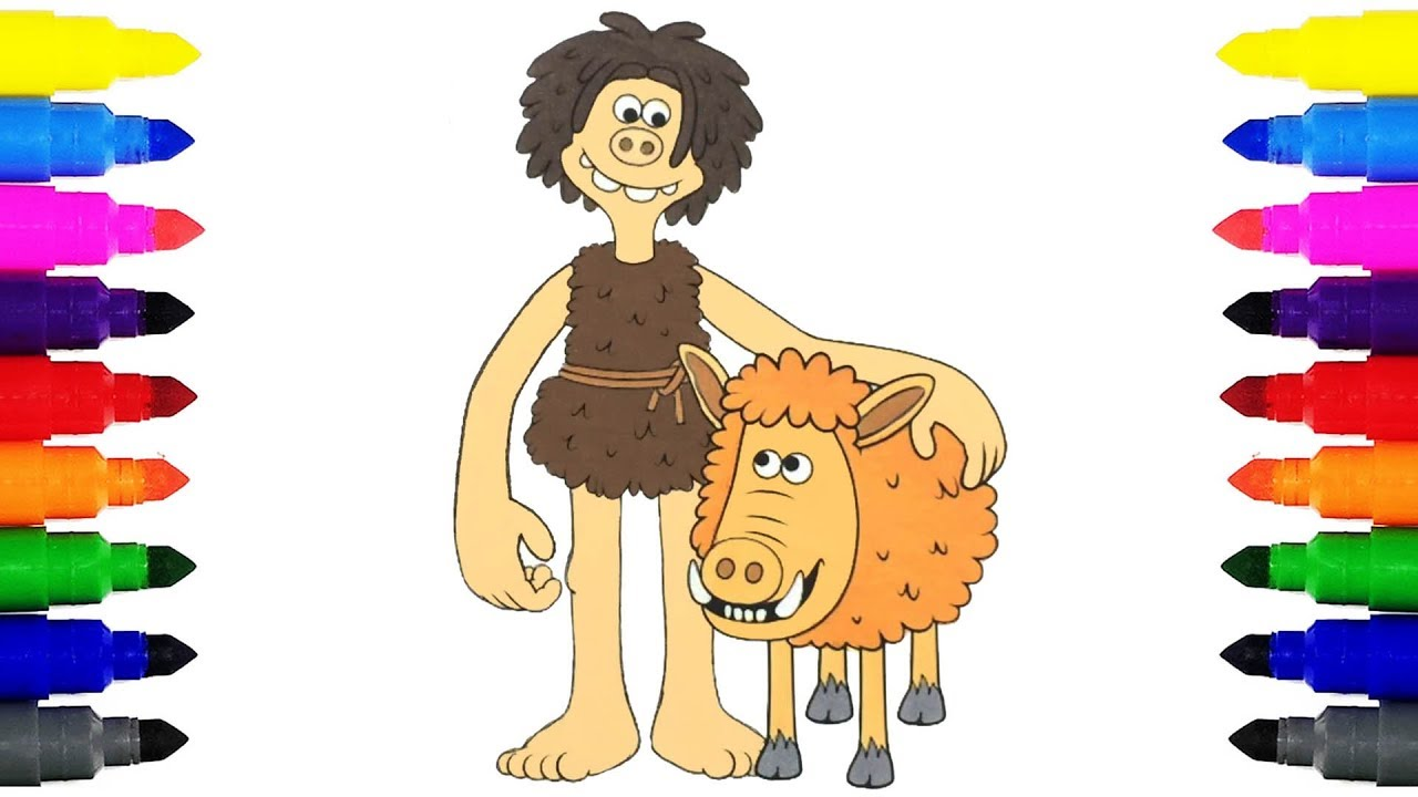 Early Man Dug And Hognob Coloring Pages For Kids