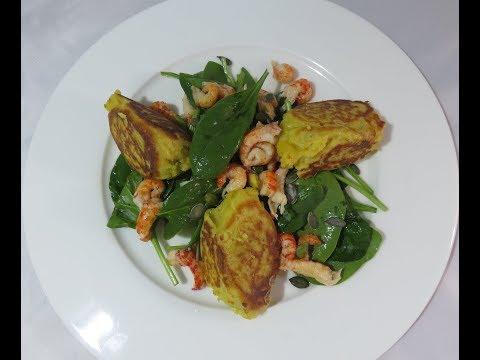 recette-des-quenelles-au-curry-poêlées,-salade-d'épinards-aux-écrevisses
