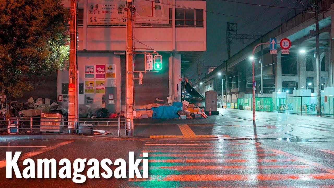 雨の釜ヶ崎 あいりん地区 Rainy Osaka Night Walk - Kamagasaki Airin District 4K HDR Japan