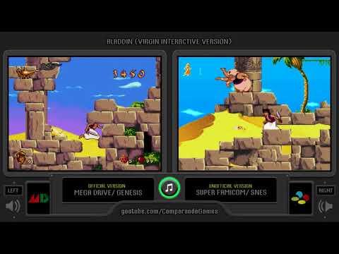 Aladdin (Virgin - Sega Genesis vs Snes) Side by Side Comparison