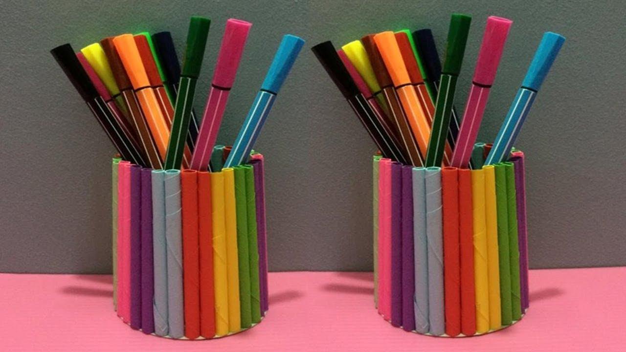 how to make pen holder with color paper diy paper pencil holder making youtube. Black Bedroom Furniture Sets. Home Design Ideas