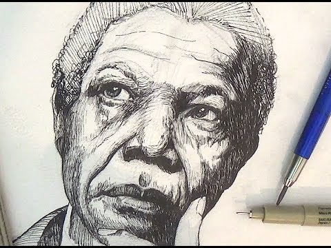 Pen and ink drawing tutorials nelson mandela portrait drawing pen and ink drawing tutorials nelson mandela portrait drawing demonstration ccuart Image collections