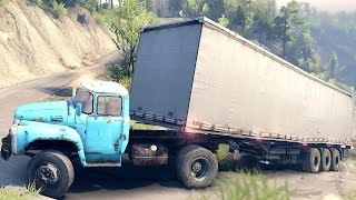 SPINTIRES 2014 - The Hill Map - B 130 Truck + Tent Trailer Uphill Driving Fail Part 2
