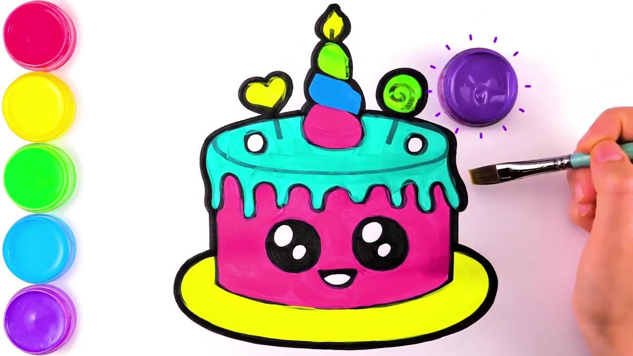 Вкусный Торт, рисунок и раскраска для детей - YouTube