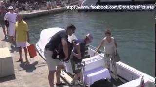 Elton John and David Furnish with sons in Saint Tropez 2015