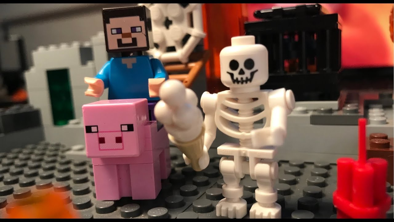 Lego Minecraft Ice Cream with Steve, pig and Skeleton