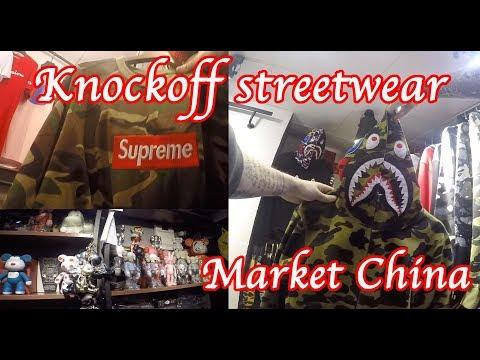 Knockoff Streetwear market Guangzhou China, Hypebeast fashion Supreme Bape Fog ASSC offwhite palace