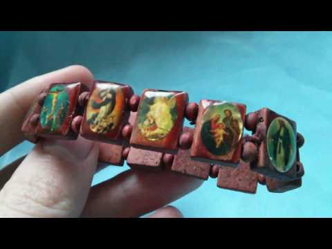 Деревянный браслет с иконками святых / Wooden Bracelet With Icons Of Saints