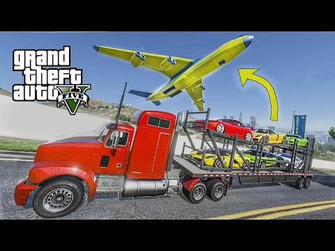 EXOTIC SUPERCARS TRANSPORT - GTA 5 CAR CARRIER TRAILER + CARGO PLANE MOD !!!