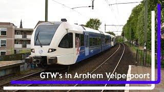 Arriva Limburgse GTW's halteren in Arnhem Velperpoort