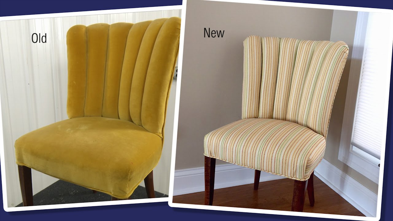 Where To Get Chairs Reupholstered Parson Chair Slip Covers Reupholstering A Channel Back Fluted Youtube