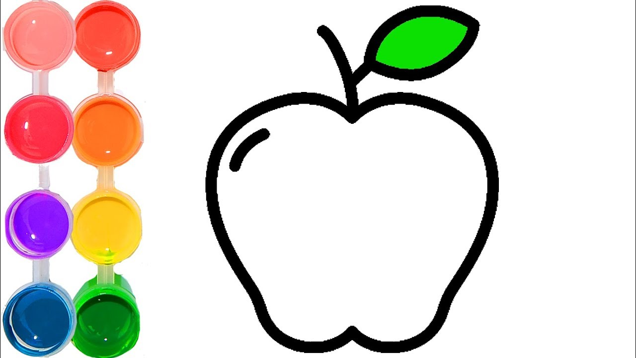 How to draw & color an apple fruit | easy & cute drawings ...